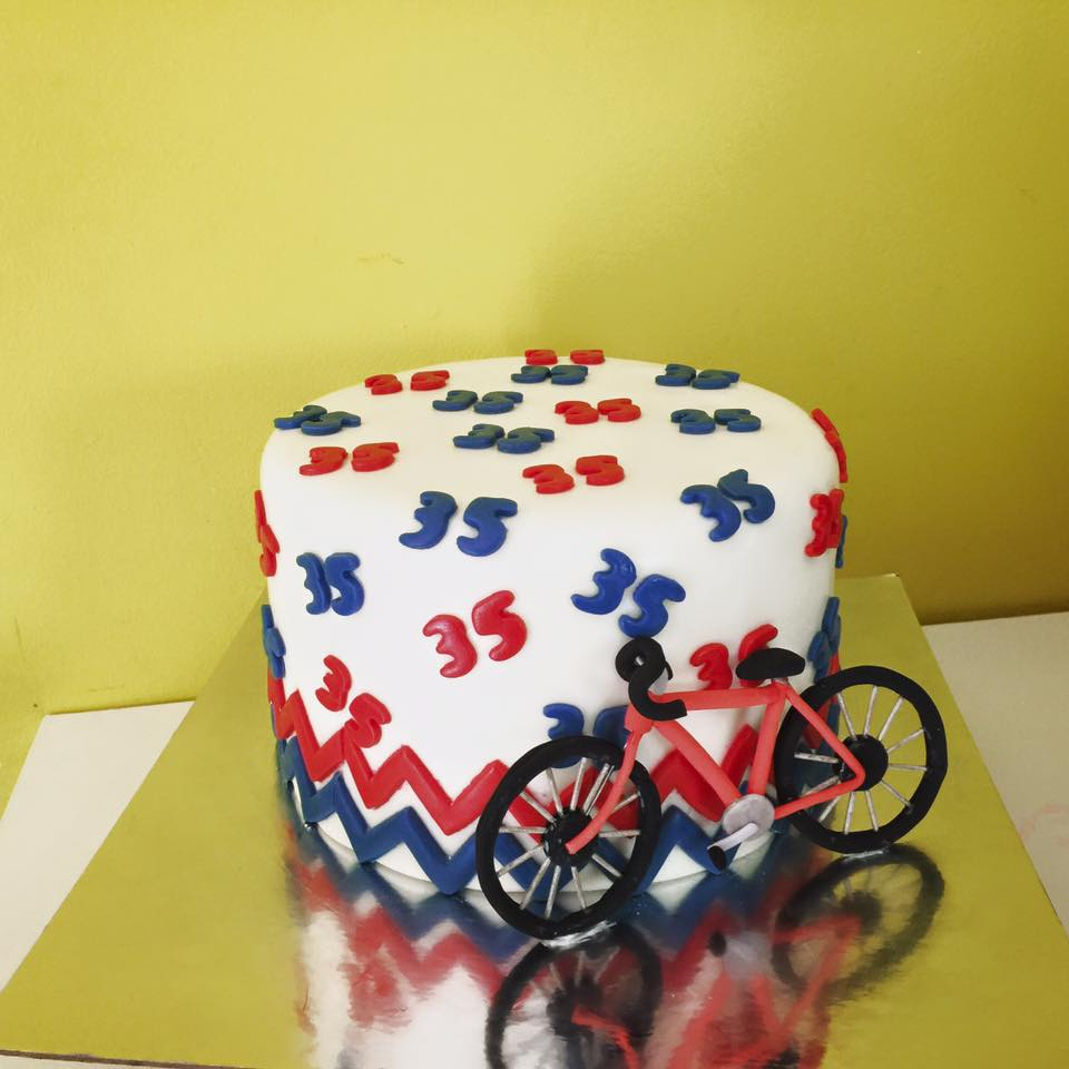 Groovy 35Th Birthday Cake With Edible Gum Paste Bicycle Funny Birthday Cards Online Hetedamsfinfo